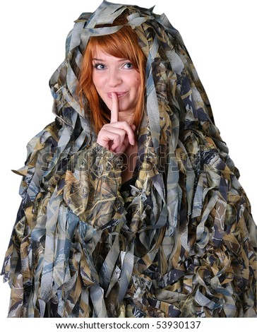 young beautiful red-haired girl in hunting camouflage cloak