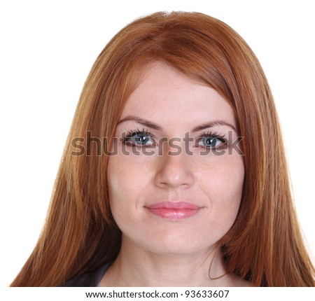 young beautiful redhair woman - stock photo