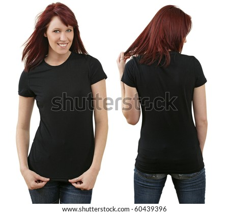 Young beautiful redhead female with blank black shirt, front and back. Ready for your design or logo. - stock photo