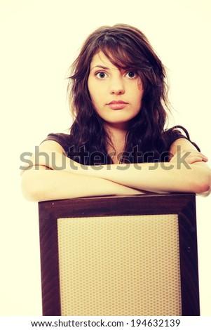Young beautiful sad woman portrait - stock photo