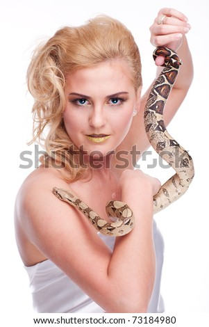 Young, beautiful, sensual woman with snake around her neck; a lot of copyspace available, on white isolated - stock photo