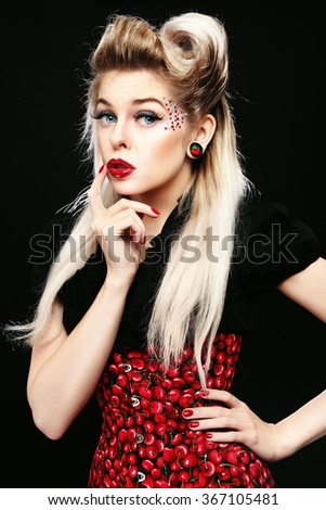 Young beautiful sexy blonde woman in fancy corset - stock photo