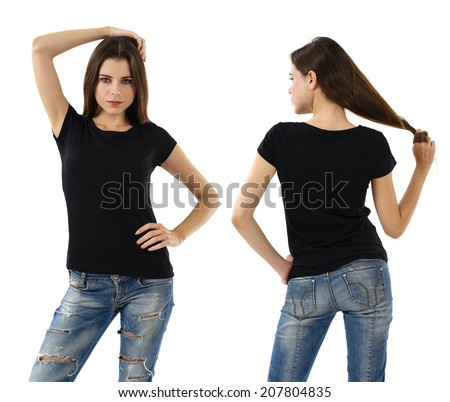 Young beautiful sexy female with blank black shirt, front and back. Ready for your design or artwork. - stock photo