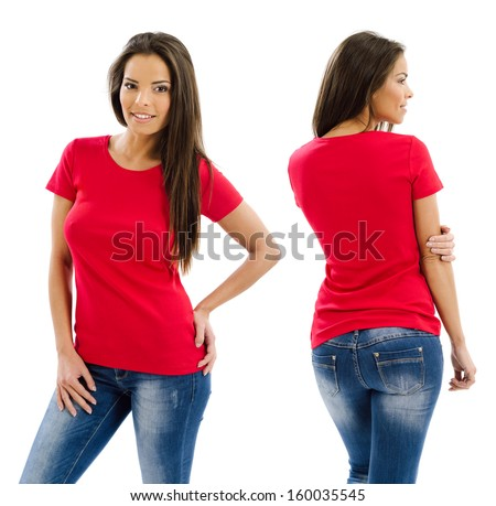 Young beautiful sexy female with blank red shirt, front and back. Ready for your design or artwork. - stock photo