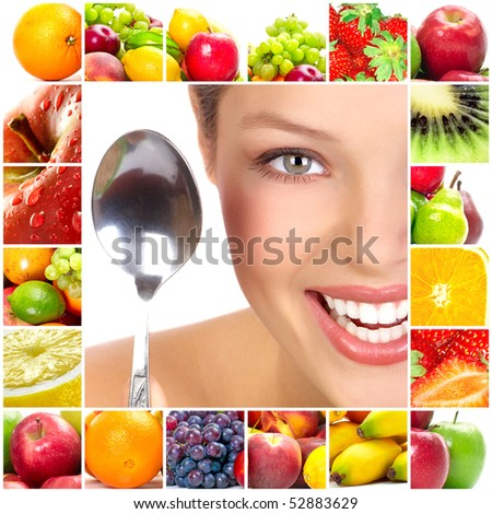 Young beautiful smiling woman with fruits - stock photo