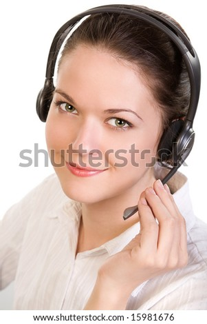 Young beautiful smiling woman with headset, isolated on white - stock photo