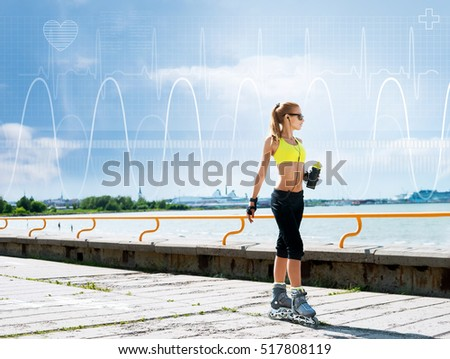 Young, beautiful, sporty and fit girl on skates over imaginary digital background