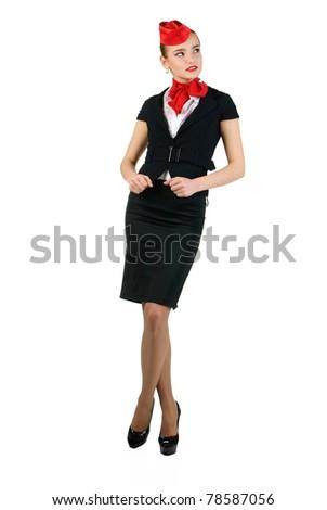 young beautiful stewardess - stock photo