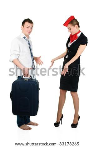 young beautiful stewardess and passenger - stock photo