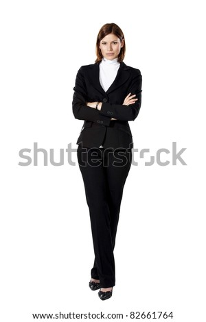 Young beautiful strict businesswoman standing in a defensive position