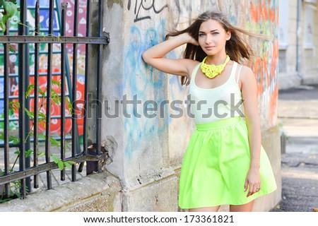Young beautiful stylish woman street fashion - stock photo