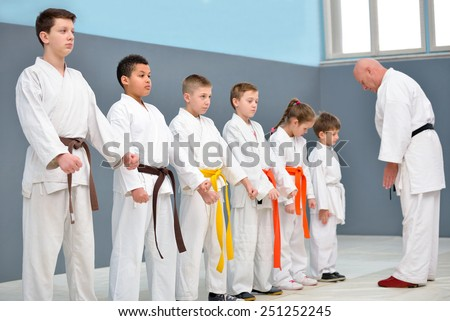 young, beautiful, successful multi ethical karate kids greeting karate master - stock photo