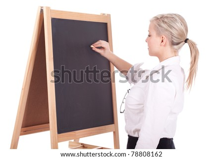 young beautiful teacher woman writing on blackboard
