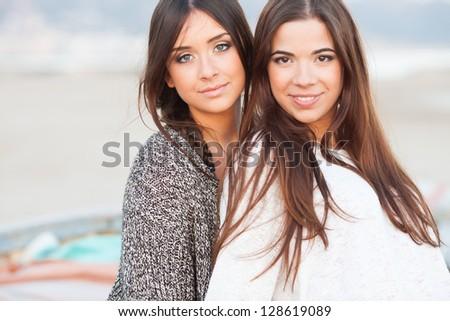 young beautiful teen girlfriends portrait - stock photo