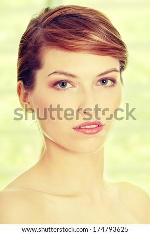 Young beautiful teen woman face - stock photo