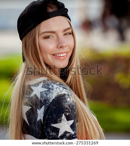 Young beautiful teenager girl outdoor - stock photo