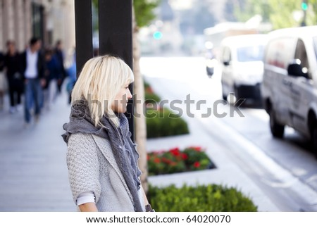 Young beautiful urban girl on the street - stock photo