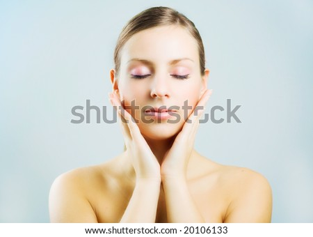 Young beautiful woman after bath. - stock photo