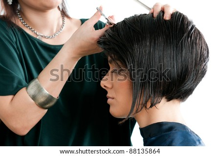 Young beautiful woman at the hairdresser salon - stock photo