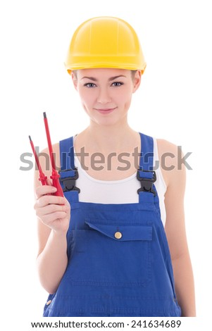 young beautiful woman builder in blue coveralls with screwdriver isolated on white background - stock photo