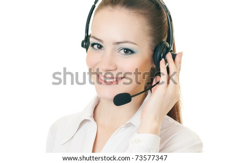 Young beautiful woman call with headset on white background - stock photo