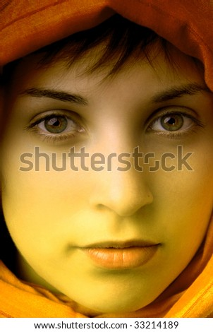 young beautiful woman, close up portrait, clored - stock photo