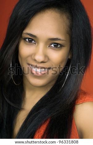 young beautiful woman closeup portrait - stock photo