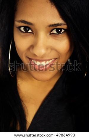 young beautiful woman closeup portrait, studio shot - stock photo