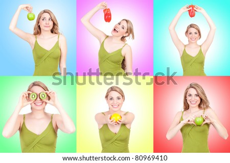 young beautiful woman collage with fruits, vegetables in color background - stock photo