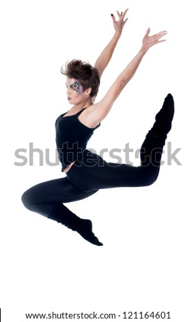 young beautiful woman dancing jazz modern dance