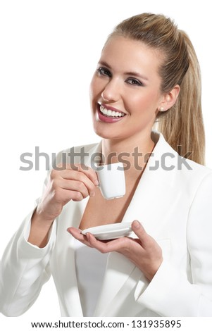 young beautiful woman drink a coffee  on white