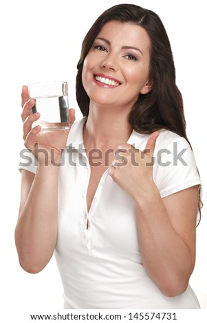 young beautiful woman drinking fresh water on white - stock photo