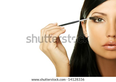 Young beautiful woman during daily morning routines - stock photo