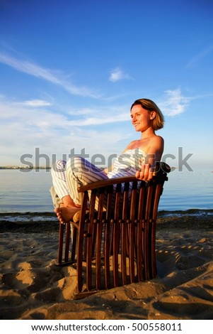young beautiful woman during hot summer day