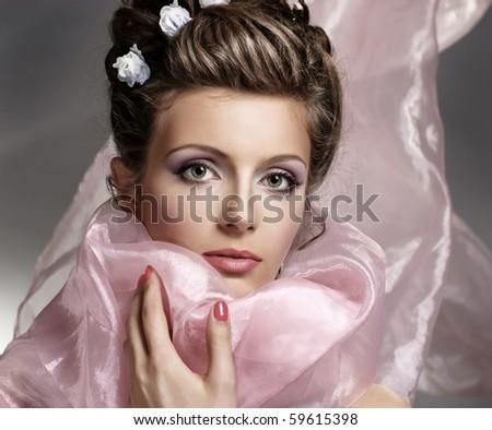 Young beautiful woman face - stock photo
