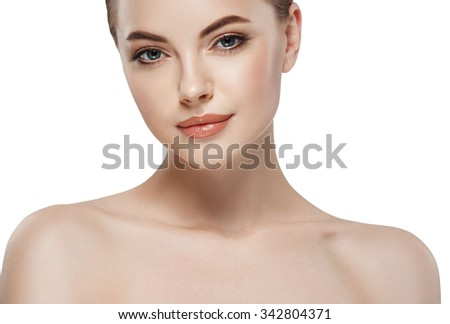 Young beautiful woman face close-up beauty portrait with healthy nature skin and perfect make-up  - stock photo