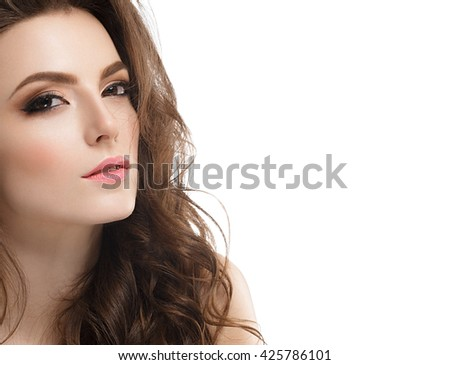 Young beautiful woman face portrait with healthy skin