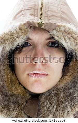 young beautiful woman feeling cold - stock photo