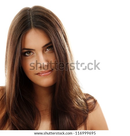 young beautiful woman, female face closeup, isolated on white background - stock photo