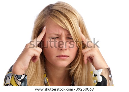 young beautiful woman having headache