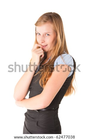 Young beautiful woman holding her finger in her mouth