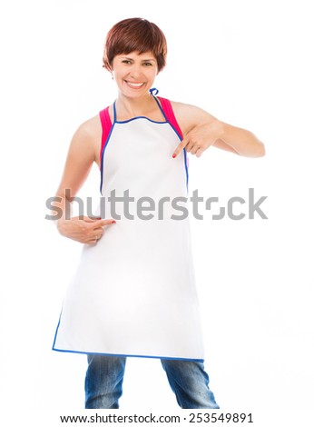 Young beautiful woman in apron isolated on white - stock photo