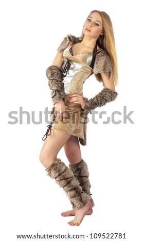 Young beautiful woman in barbarian costume. Isolated on white