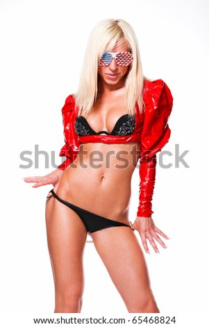 young beautiful woman in black lingerie and red leather jacket