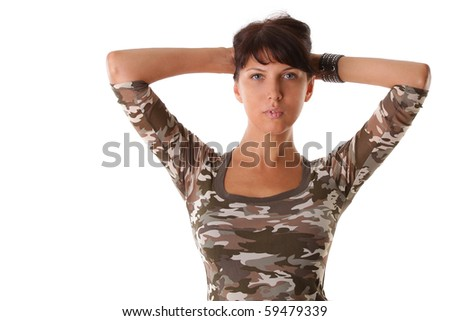 young beautiful woman in military shirts isolated on white