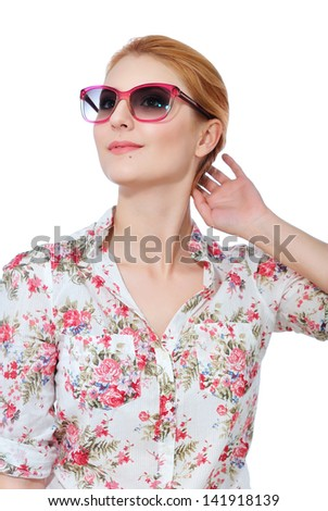 Young beautiful woman in pink sunglasses, isolated on white background - stock photo