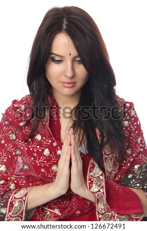 Young beautiful woman in sari - stock photo
