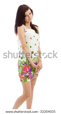 Young beautiful woman in sundress on white background