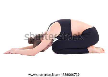 "young beautiful woman in yoga pose ""child"" isolated on white background - stock photo"
