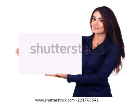 Young beautiful woman is holding blank banner, isolated over white